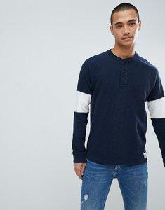 Read more about Abercrombie fitch varsity raglan henley lightweight sweatshirt sleeve band in navy grey - navy grey