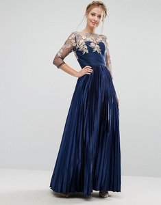 Read more about Chi chi london premium lace maxi dress with pleated metallic skirt - navy gold