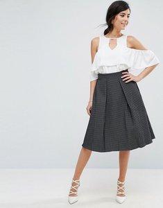 Read more about Closet london metallic jacquard midi skirt - black