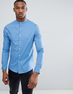 Read more about Asos design skinny shirt with grandad collar in mid blue - blue