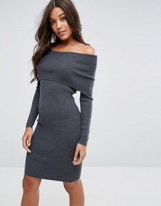 Read more about Asos knitted midi dress with bardot - charcoal
