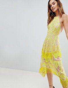 Read more about Asos embroidered square neck fringe hem midi dress - yellow