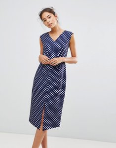 Read more about Closet london wrap front pencil dress in polka print - multi