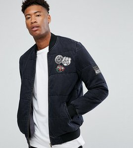 Read more about Asos tall denim bomber jacket with badges in washed black - black