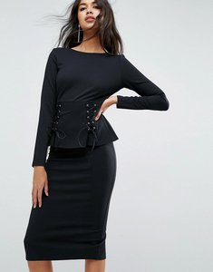 Read more about Asos midi dress with corset peplum detail - black