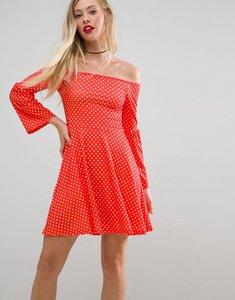 Read more about Asos bardot trumpet sleeve skater dress in polka dot - red polka dot