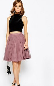 Read more about Asos petite tulle mini skirt with layers - dusty pink