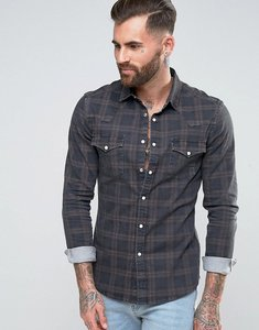 Read more about Asos skinny western denim check shirt in grey - grey