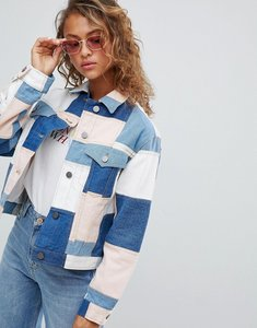 Read more about Asos design denim patchwork jacket - multi