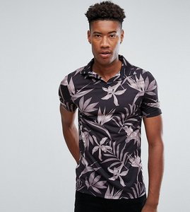 Read more about Asos tall polo shirt with revere collar in floral print - black