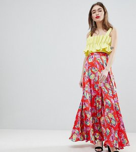 Read more about Asos design petite satin maxi skirt with centre front split in floral print - multi