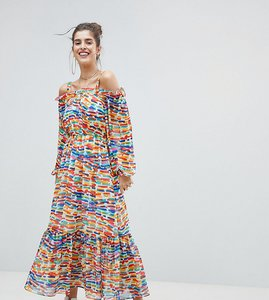 Read more about Reclaimed vintage inspired off the shoulder printed maxi dress - multi
