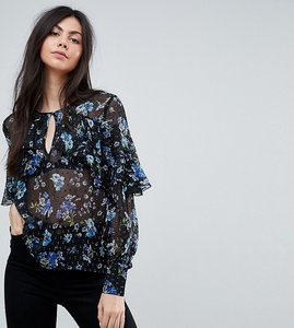 Read more about Influence tall ruffle front floral blouson sleeve top - black floral
