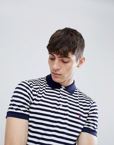 Read more about Polo ralph lauren stripe slim fit stretch pique polo player logo in navy white - french navy white