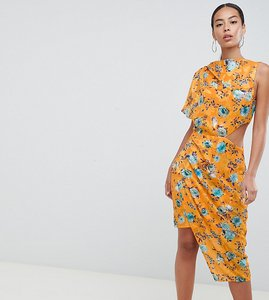 Read more about Asos design tall midi dress in printed jacquard with open back - multi