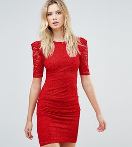 Read more about Asos tall lace v back bodycon mini dress with shoulder ruffle - red