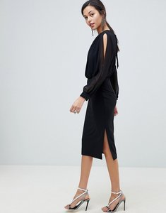 Read more about Asos design woven mix pencil dress with split sleeve - black