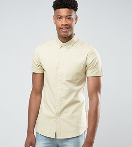 Read more about Asos tall casual slim oxford shirt with stretch in sage - sage