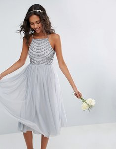 Read more about Asos wedding delicate beaded strappy back midi dress - grey