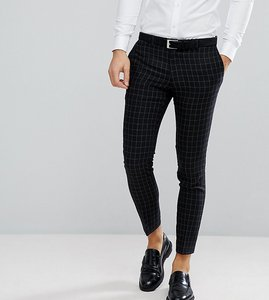 Read more about Noak skinny wedding suit trouser in grid check - black
