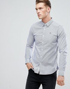 Read more about Tommy jeans stripe slim fit shirt flag logo in navy - black iris