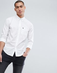 Read more about Abercrombie fitch core poplin shirt slim fit icon logo in white - white