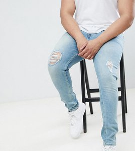 Read more about Asos design plus super skinny jeans in mid wash blue with rips - mid wash blue
