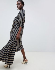 Read more about Asos white cut about stripe frill hem dress - navy stripe