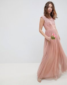 Read more about Asos design embroidered mesh maxi dress - dusty pink