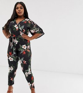 Read more about Pink clove wrap jumpsuit in tropical floral print