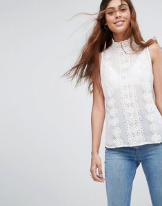 Read more about Asos high neck sleeveless blouse with lace trims - ivory