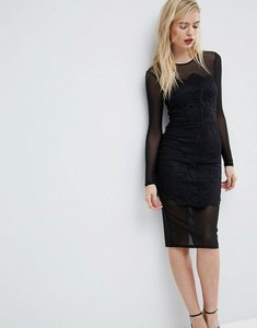 Read more about Asos lace mesh bodycon midi dress - black