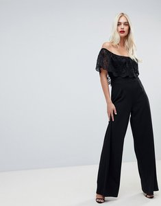 Read more about Outrageous fortune lace top wide leg jumpsuit in black