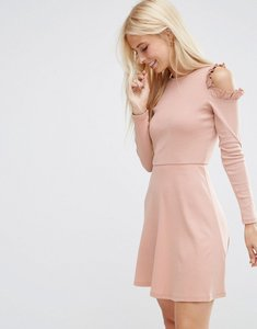 Read more about Asos skater dress with frill detail and cut out shoulder - dusty pink