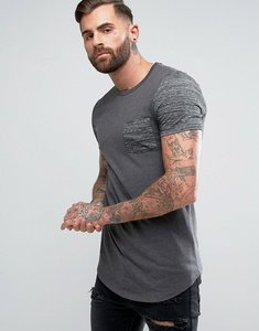 Read more about Asos longline muscle t-shirt with contrast inject fabric pocket and sleeve with curved hem - charcoa