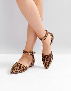 Read more about Raid debbie leopard ankle strap ballet shoes - leopard suede