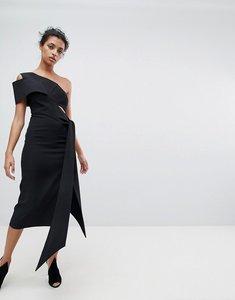 Read more about Aq aq one shoulder drape front midi pencil dress - black