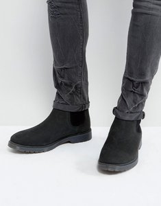 Read more about Asos chelsea boots in black leather with ribbed sole - black