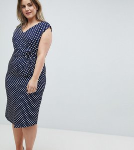 Read more about Closet london plus wrap front pencil dress in polka print - multi
