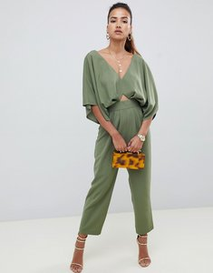 Read more about Asos design jumpsuit with kimono sleeve and peg leg - khaki