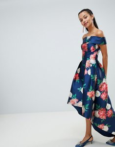 Read more about Chi chi london floral printed bardot midi dress with high low hem - navy multi