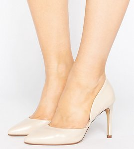 Read more about Lost ink wide fit cut out court shoes - nude
