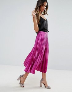 Read more about Asos satin pleated midi skirt with thigh split - purple
