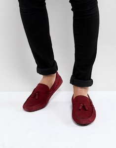 Read more about Asos driving shoes in burgundy suede with tassel - burgundy
