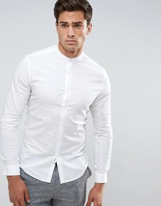 Read more about Asos skinny shirt with grandad collar in white - white