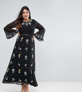 Read more about Frock and frill plus embroidered floral maxi dress with fluted sleeve - black