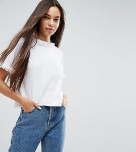 Read more about Asos t-shirt with lace ruffle neck sleeves - white