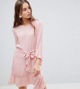 Read more about Vero moda tall ruffle dress with wrap hem - rose tan