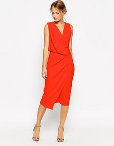 Read more about Asos design bridesmaid wrap drape midi dress - red