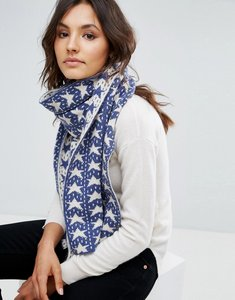 Read more about Alice hannah vertical star jacquard shawl - blue white